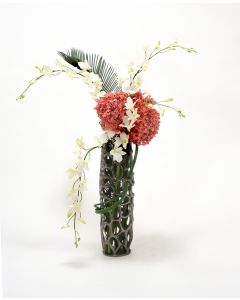 Honeycomb Black Nickel Vase with Orchids and Allium