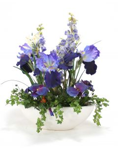 Blue Iris, Delphinium, With Pansey in White Container