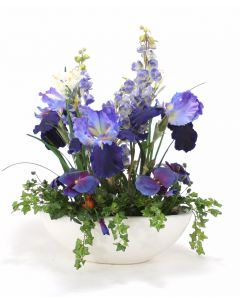 Blue Iris, Delphinium, with Pansy in White Container