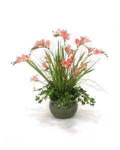 Soft Pink Freesia with Grass in Green Belly Planter