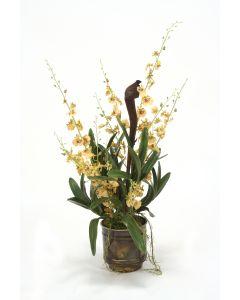 Gold Orchid with Vanda in Metal Bronze Pot