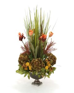 Natural Grass Garden with Flowers and Gold Yarrow in Metal Bronze Compote