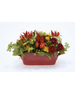Rust Red, Gold and Green Floral in Oval Rust Planter