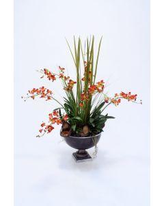 Dendrobium Orchid in Bronze Urn
