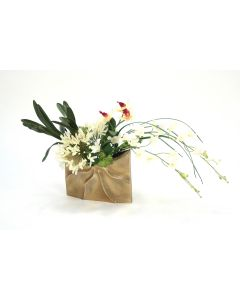 Dendrobium Orchid and Agapanthus in Gold Ritz Vase