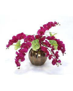 Violet Phalaenopsis Orchid and Green Anthurium in Ceramic Gold Ball Vase