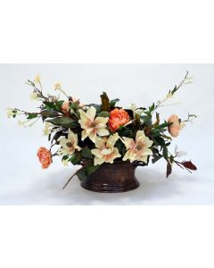 Magnolia with Peach Peonies in Metal Container