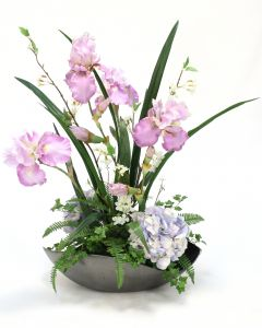 Lavender Iris With Hydrangeas in Cosmic Bowl