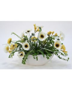 Yellow White Poppies in Oval White Container