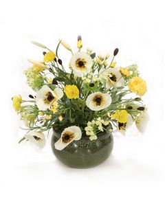 Yellow Poppies, Clover with Wildflowers in Green Stoneware Bowl