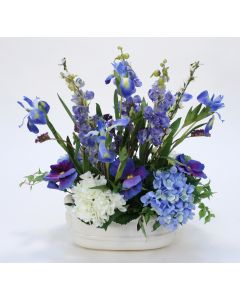 Blue and White Garden Flowers in Oval White Ceramic Planter
