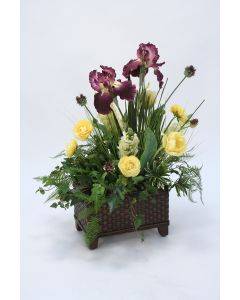 Purple Iris, Yellow Parrot Tulip in Basket Floor Planter