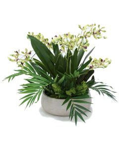 Vanda Orchid Garden in Grey Fiber Stone Bowl