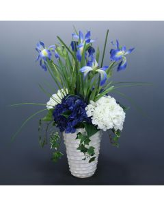 Blue and White Hydrangeas with Iris and Ivy in Ripple Pot