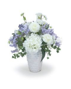 Ranunculas with Hydrangea's and Cherry Blossoms and Parrot Tulips in Layered Vases