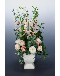 Pink Peony and Foxglove in White Glazed Planter
