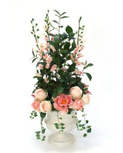 Cream Pink Roses, Foxglove and Peonies in Small Classic Urn