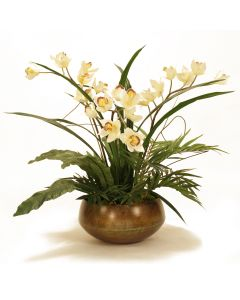 Cream Orchids with Purple Center in Metal Planter