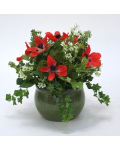 Red Anemone Arrangement in Green Planter