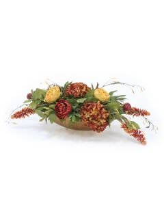 Rust and Gold Mixed Flowers in Gold Container