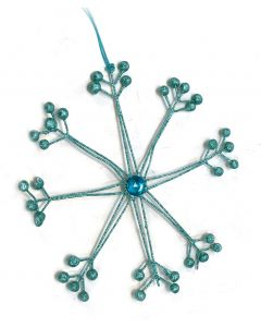 Aqua Glittered Snowflake