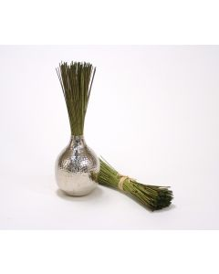 Natural Marsh Reed with Raffia and Silver Round Vase (Set/2)