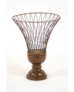 Wire Urn with Wood Basebeidermeier Finish (Sold in Multiples of 2)
