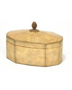 Ivory Leather Decagon Box with Lid and Pineapple Finial