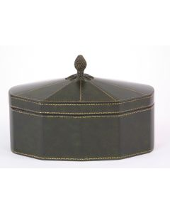 Green Leather Decagon Box with Lid and Pineapple Finial
