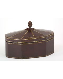 Cordovan Leather Decagon Box with Lid and Pineapple Finial