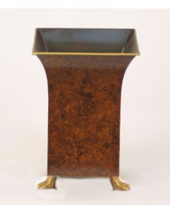 Large Square Tole Planter with Claw Feet in Yellow Tortoise