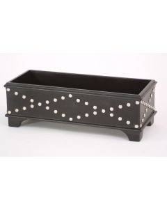 Leather Box with Silver Rivet Black Apache Leather
