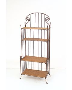 Pewter Corinthian Kd Bakers Rack with Bamboo Shelves