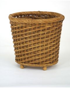 Footed Wicker Oval Planter in Light Antique Brown