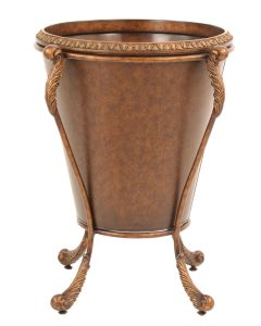 Golden Tortoise Tapered Planter with Acanthus Leaf Scrolled Metal Stand