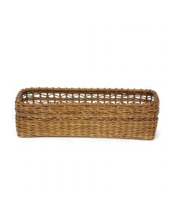 Rectangular Basket with Rattan Lace Top Antique Finish