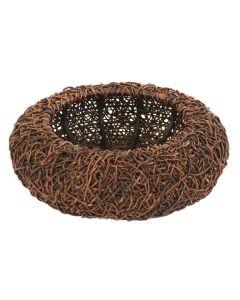 Round Crazy Abaca Basket in Dark Brown