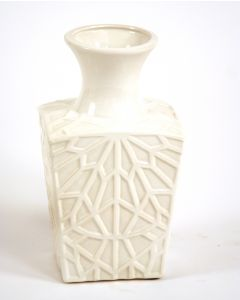 Small Square Embossed Kira Vase in White