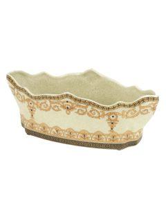 Oblong Porcelain Planter in Beige Crackle with Gold Design