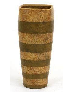 Square Top Medium Cylinder Vase Natural/Leather Stripe