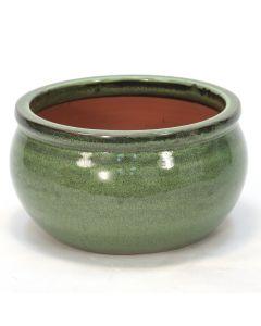 Large Round Falling Green Glazed Planter