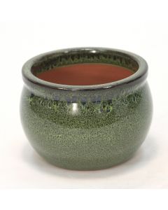 Small Round Falling Green Glazed Planter