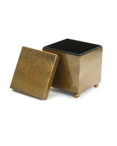 Large Box with Lid and Brass Ball Feet in Golden Tortoise Finish