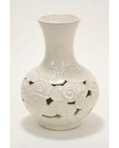 Earthenware Pierced Ivory Cloud Vase