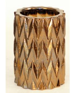 Small Zig Zag Burnt Gold Cylinder Vase (Sold in Multiples of 2)