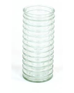 Large Ribbed Glass Cylinder in Clear Green