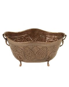 Large Oval Planter with Pineapple Motif in Antique Brass