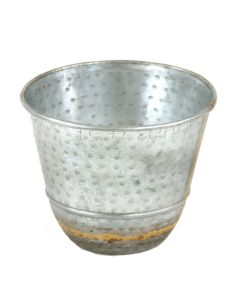 Large Round Galvanized Tin Pot