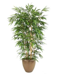 8' Bamboo Tree in Metallic Bronze Stoneware Planter