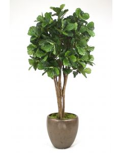 8' Fiddle Leaf Fig Tree in Metallic Bronze Stoneware Pot